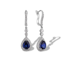 Teardrop Sapphire and Diamond Earrings. 750 White Gold, KARATOFF Series