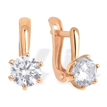 5 mm CZ Solitaire Kids Earrings. 585 (14kt) Rose Gold