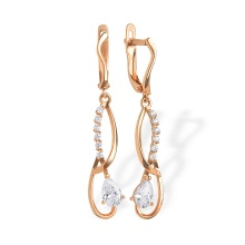 CZ Chandelier Earrings. 585 (14K) Rose Gold