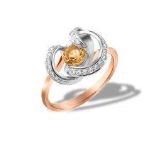Genuine Citrine and CZ Twisted Ring. 585 Rose and White Gold