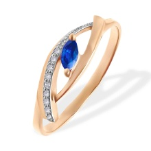 Marquise Sapphire and Diamond Open Ring. 585 (14kt) Rose Gold, Rhodium Detailing