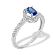 Oval Sapphire and Diamond Ring. 585 (14K) White Gold