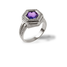Amethyst and CZ White Gold Hexagonal Ring