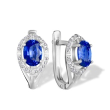 Cornflower-blue Sapphire Diamond Earrings. 'Royal Gem' series, 585 (14kt) White Gold