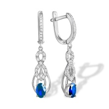 Art Deco Style Sapphire Chandelier Earrings. Hypoallergenic 585 (14K) White Gold