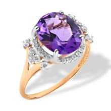 Oval-shaped Amethyst Cocktail Ring. 'Empress' Series, 585 (14kt) Rose Gold