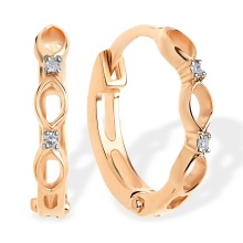 Diamond Huggie Earrings for Babies. 585 (14kt) Rose Gold, Rhodium Detailing