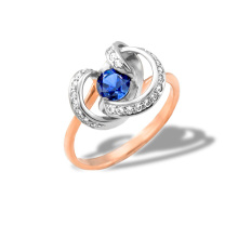 Sapphire and Diamond Ring. 'Royal Gem' series, 585 Rose and White Gold