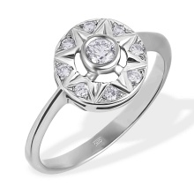Diamond Bethlehem Star Ring. 585 (14kt) White Gold