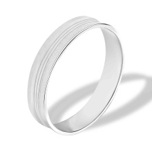 Retro-Futuristic Guilloche Wedding Band. 585 (14kt) White Gold