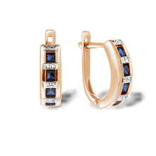 Channel Set Sapphire with Diamonds Earrings