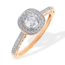 Swarovski Topaz and Diamond Engagement Ring. 585 (14kt) Rose Gold, Rhodium Detailing