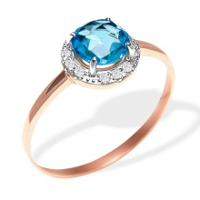 Fancy Cut Blue Topaz Ring. 585 (14kt) Rose Gold
