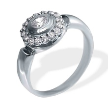 Diamond Halo Engagement Ring. 585 (14kt) White Gold