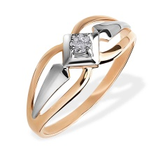 Illusion-set Diamond Ring. 585 (14kt) Rose and White Gold