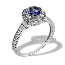 Sapphire engraved gold ring