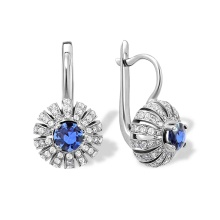"Cornflower Sapphire Diamond Earrings. ""The Art of Seduction"" Series"