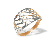 Golden Ring with Cutwork Accents