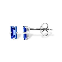 Baguette Sapphire Stud Earrings. Nickel-free 585 White Gold, Friction Backs