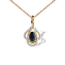 Sapphire and Diamond Drop Pendant. 585 (14K) Hypoallergenic Rose Gold