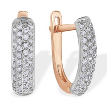 Pave Swarovski CZ Earrings. 585 (14kt) Rose Gold, Rhodium Detailing