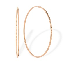Diamond Cut Rose Gold Hoop Earrings. 50 mm in Diameter