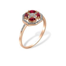 Ruby and Diamond Octagonal Ring. Hypoallergenic 585 (14K) Rose Gold