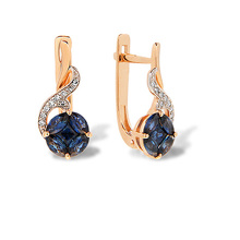 "Sapphire ""Flower of Life"" Diamond Earrings. 585 (14kt) Rose Gold, Rhodium Detailing"