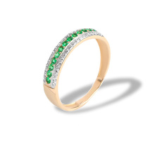 Emerald and Diamond Striped Ring. 585 (14kt) Rose Gold