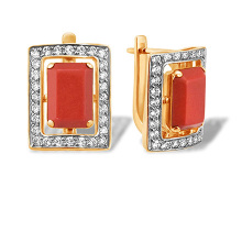 Baguette-cut Coral and CZ Earrings