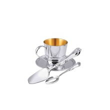 Silver Dessert Set: A Cup, A Saucer, A Spoon and A Cake Spatula