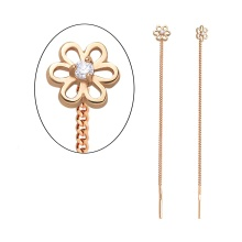CZ Flower Motif Chain Earrings. 585 (14K) Rose Gold