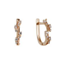 Garland CZ Lever-back Earrings. Hypoallergenic 585 (14K) Rose Gold