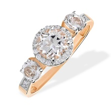 """Le Grande Amour"" Trinity Engagement Ring. 585 (14kt) Rose Gold, Rhodium Detailing"