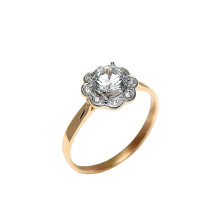 Floral Shaped CZ Engagement Ring