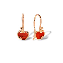 Enamel Red Apple Kids' Gold Earrings