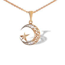 CZ Filigree Crescent and Star Pendant
