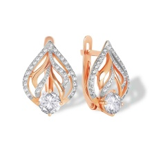 Modern Classic CZ Earrings. 585 (14kt) Rose Gold, Rhodium Detailing