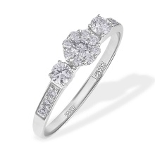 Diamond Engagement Ring with Botanicals Motifs. 585 (14kt) White Gold