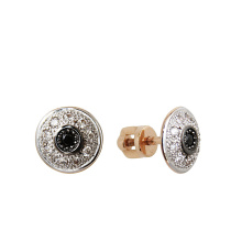 Black & White CZ Screw Back Stud Earrings