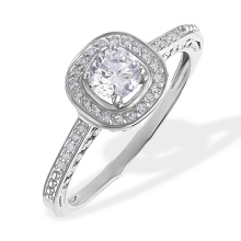Swarovski Topaz and Diamond Engagement Ring. 585 (14kt) White Gold