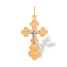 Unisex Orthodox Cross Pendant. 585 (14 K) Rose and White Gold