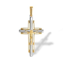 Cross Pendant for Him. 585 (14kt) Yellow and White Gold
