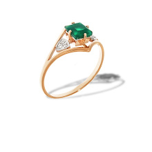 Green onyx gold ring