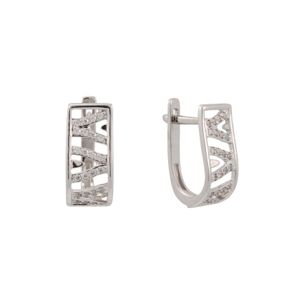 CZ White Gold Earrings