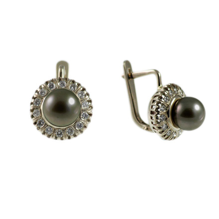 Black Pearl & Diamond Halo Earrings