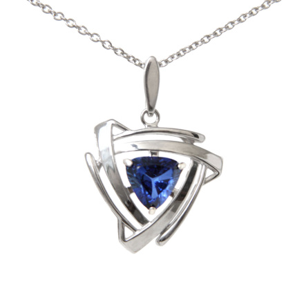 Silver Pendant With Sapphire