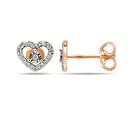Diamond Heart Shaped Stud Earrings. Cadmium-Free 585 Rose Gold, Friction Backs