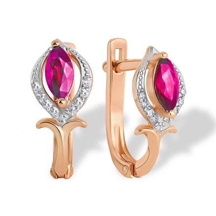 Ruby and Diamond Earrings. 585 (14K) Hypoallergenic Rose Gold