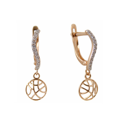 Coquettish Dangle Earrings. CZ Rose Gold Earrings